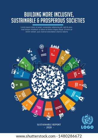 Sustainable Development Goals - the United Nations. SDG. Brochure, Annual report, cover, Poster templates design.