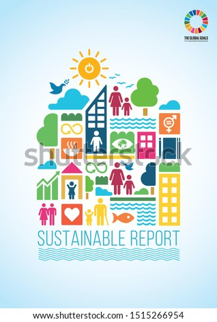 Sustainable Development Goals. vector template in A4 size. Annual report. Abstract Brochure design. Flyer promotion. Presentation cover. Vector illustration. Infographic elements data visualization