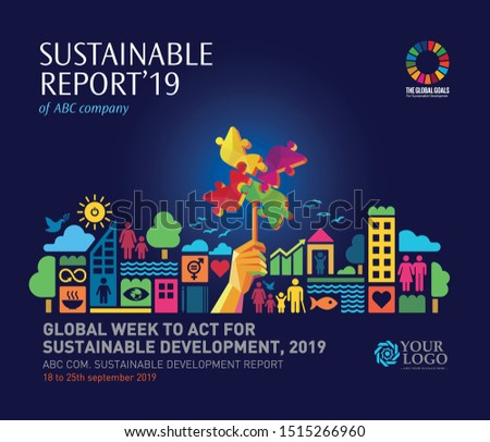 Sustainable Development Goals. vector template in A4 size. Annual report. Abstract Brochure design. Flyer promotion. Presentation cover. Vector illustration. Infographic elements data Visualisation.