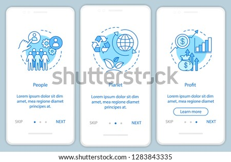Sustainable development onboarding mobile app page screen template. People, planet and profit walkthrough website steps. Resource management. Triple bottom line. TBL. UX, UI, GUI smartphone interface