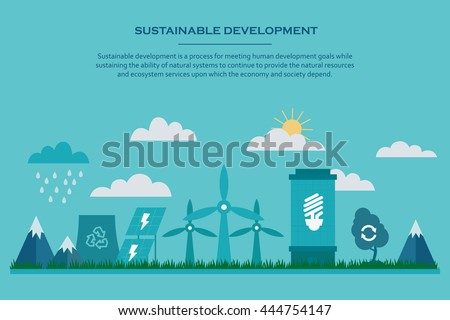 Sustainable development. Web banner with flat sustainable development elements. Environmental concept providing the natural resources and ecosystem services. Vector illustration.