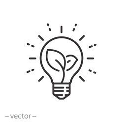 sustainable ecological energy icon, creative lamp, light bulb nature, plant in the bulb, thin line web symbol on white background - editable stroke vector illustration eps 10