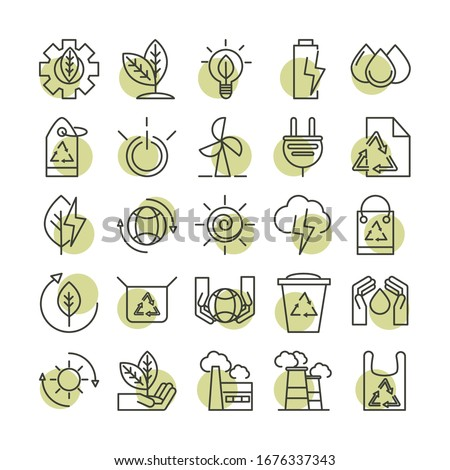 sustainable energy alternative renewable ecology icons set vector illustration line style icon