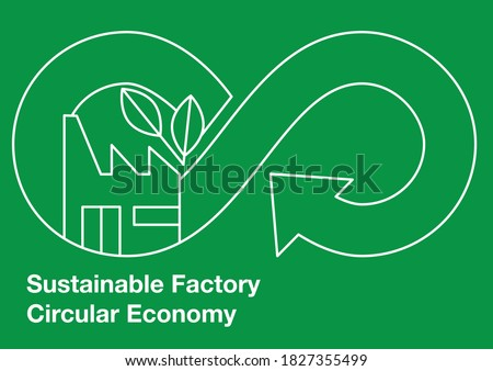 Sustainable Factory Circular Economy - Linear Style  Photo stock ©