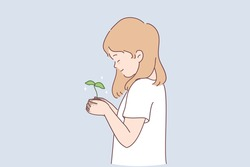 Sustainable lifestyle, ecological conversation, nature concept. Small smiling girl cartoon character standing and holding green plant with ground in hands in garden vector illustration