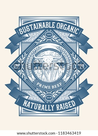 Sustainable organic pasture raised badge 2 is a vector illustration about premium quality beef meat