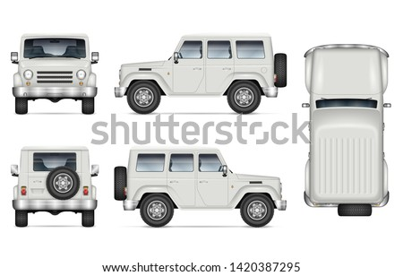 SUV car vector mockup for vehicle branding, advertising, corporate identity. Isolated template of realistic offroad truck on white background. All elements in the groups on separate layers
