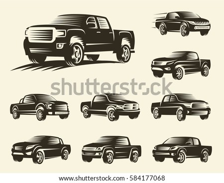 SUV isolated monochrome pickup trucks logo set, cars logotypes collection, black color automotive vehicle vector illustration