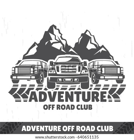 SUV logo, travel icon, emblem for off-road shop, badge with jeeps in the background of mountains