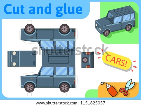 SUV off-road truck paper model. Small home craft project, DIY paper game. Cut out, fold and glue. Cutouts for children. Vector template. Stockfoto ©