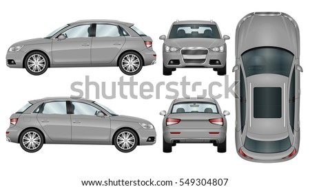 SUV on white background. Car template. The ability to easily change the color. All sides in groups on separate layers. View from side, back, front and top.