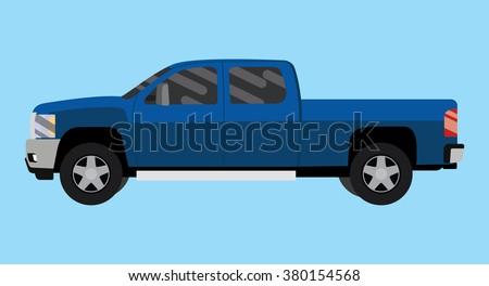 suv truck car pickup isolated blue big vector illustration