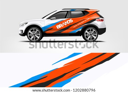 SUV wrap design. Wrap, sticker and decal design for company. Vector format