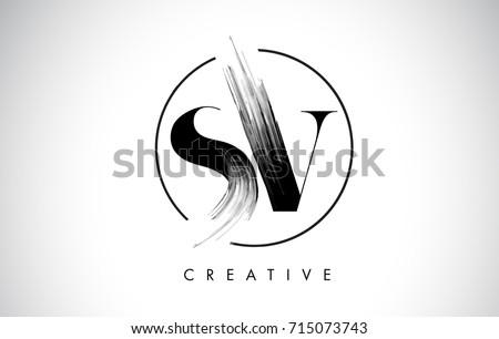 SV Brush Stroke Letter Logo Design. Black Paint Logo Leters Icon with Elegant Circle Vector Design. Stock fotó ©