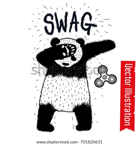 Swag panda spinner. Dancing panda, Dub dancing sign. Swag hipster. Element advertising spinners. Print for tshirts, sweatshirts, hoodies, pajamas. Isolated vector illustration on white background.