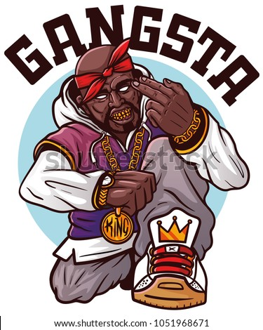 SWAG rapper with gold chain. Cool rap singer - album cover. Vector illustration for t shirt printing, apparel, poster, banner.  Swag rap sign. Print for tshirt, tee graphics with slogan. Cool gangsta