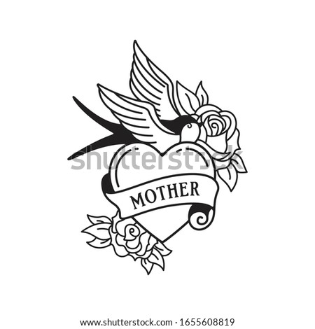 Swallow and roses tattoo with wording mother. Traditional tattoo flowers old school tattooing style ink. Isolated vector.