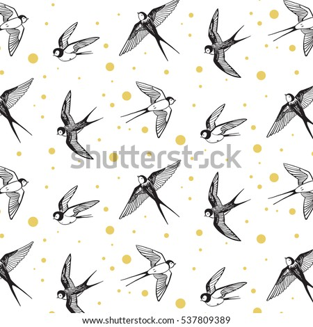 swallow bird vector pattern