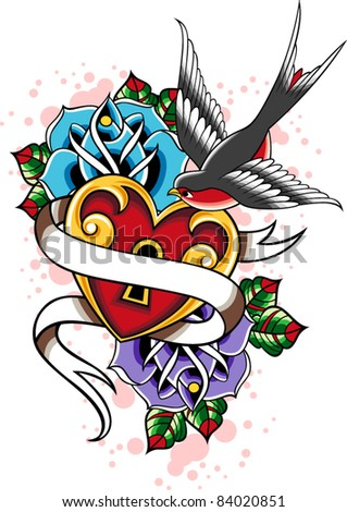 Swallow Tatto on Swallow Tattoo Stock Vector 84020851   Shutterstock