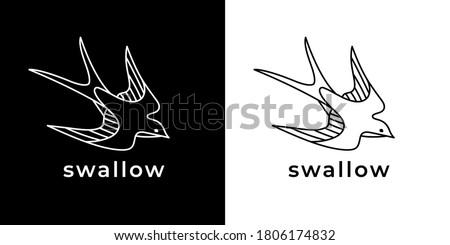 Swallow tattoo line icon. Flying bird logo emblem. Swift symbol. Vector illustration.