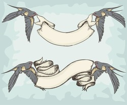Swallows holding ribbons, Birds with banners, hand drawn