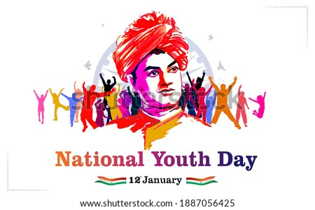 Swami Vivekananda Jayanti Vector illustration, National Youth Day of India 12th January, remembering Swami Vivekananda, people, youth hutting, tricolor flag and  typography text