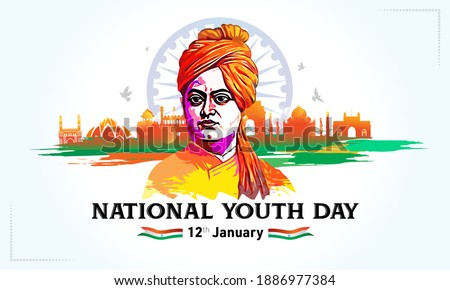 Swami Vivekananda Jayanti vector illustration, 12th January National Youth Day of India, remembering Swami Vivekananda, monument, tricolor flag and  typography text