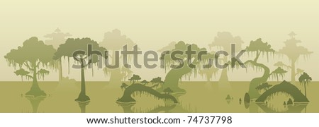 Swamp background with several trees. Vector illustration with simple gradients. The tree lines are in separate layers for easy editing.