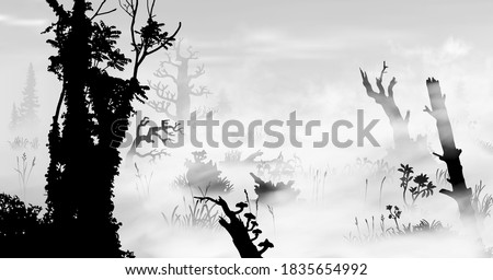 swamp in the fog art black and