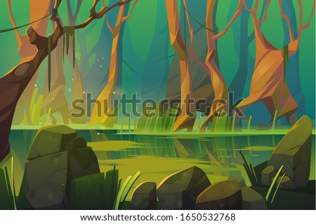Swamp in tropical forest, fairy landscape with marsh, trees trunks, bog grass and rocks. Vector cartoon illustration of wild jungle, rain forest with river or swamp Foto d'archivio ©