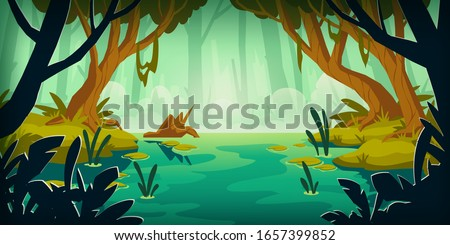 Swamp in tropical forest. Landscape with marsh, water lilies, trees trunks and bog grass. Vector cartoon illustration of wild jungle, rain forest with river, lake or swamp Foto d'archivio ©