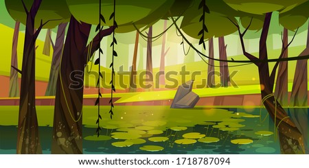 Swamp or lake with water lilies in forest. Nature landscape with marsh in deep wood. Computer game background, fantasy mystic scenery view with wild pond covered with ooze, Cartoon vector illustration Foto d'archivio ©
