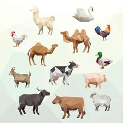 SWAN CHICKEN DUCK OX BUFFALO COW SHEEP PIG GOAT CAMEL LLAMA FARM ANIMAL LOW POLY LOGO ICON SYMBOL SET. TRIANGLE GEOMETRIC POLYGON
