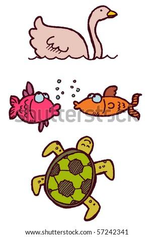 swan fish turtle