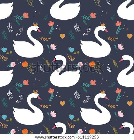 swan lake seamless pattern