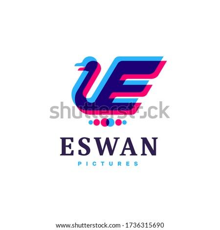 swan   letter e logo template