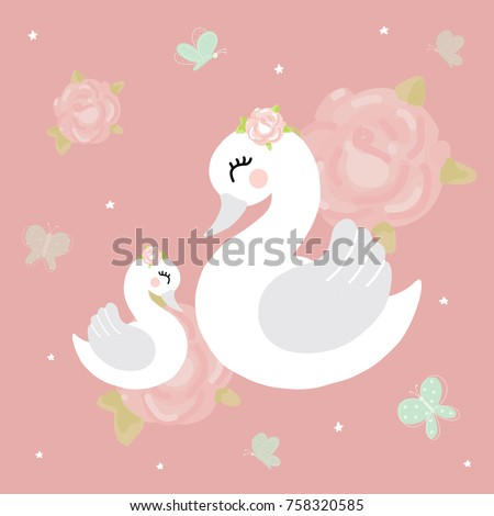 swan mother baby girl room