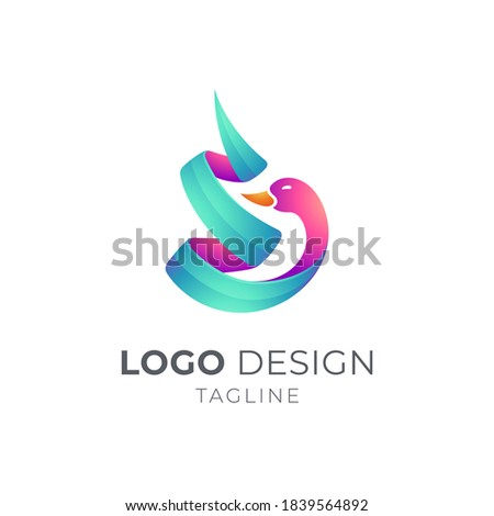 swan or duck logo with ribbon