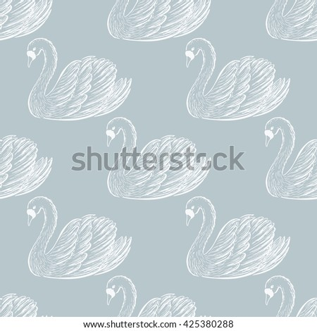 swan pair seamless pattern