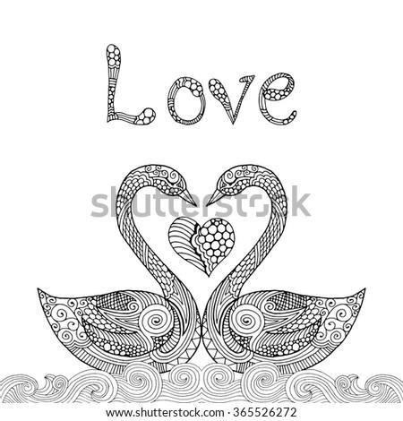 swan valentine card illustration