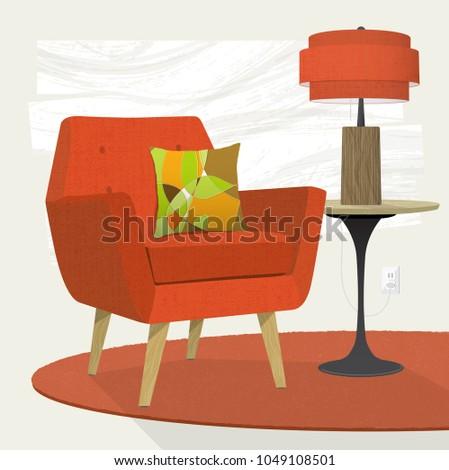 swanky retro living room scene