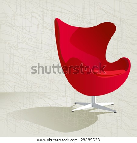 Swanky Retro Red Mid-Century Modern Chair With A Subtle Modern ...