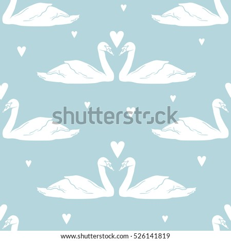 swans and hearts  seamless