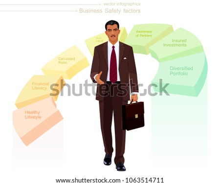 Swarthy businessman comes closer and holds out his hand to a handshake. Charismatic man with a dark skin, looks like a Hispanic, Turkish, Persian or Indian boss. Pie chart with a business safety info.