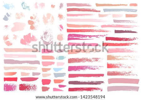 Swatches makeup strokes. Set beauty cosmetic nude brush stains smear make up lines collection lipstick swatches texture isolated on white paint line texture. Hand drawn vector illustration.