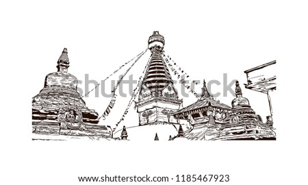 Swayambhunath is an ancient religious architecture atop a hill in the Kathmandu Valley, west of Kathmandu city. Hand drawn sketch illustration in vector. Foto stock ©