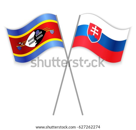 swazi and slovak crossed flags