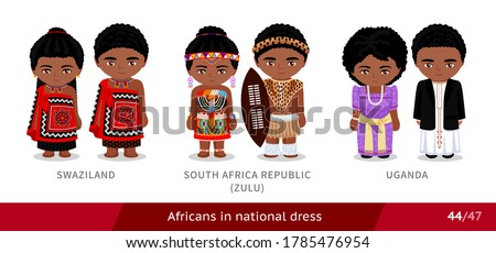 Swaziland, South Africa Republic, zulu tribe, Uganda. Men and women in national dress. Set of african people wearing ethnic traditional costume. Isolated cartoon characters. Vector flat illustration. Photo stock ©