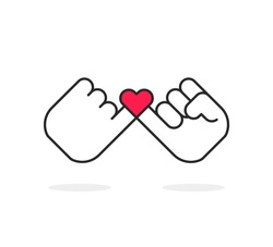 swear or pinky promise icon with heart. concept of trust or friendship with little finger. stroke style trend modern simple logotype graphic lineart art design isolated on white background