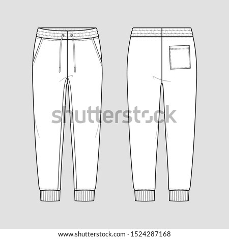 Sweat jogger pants with an elasticated drawstring waist in a relaxed style. Tapered leg with ribbed hem. Mockup template. Photo stock ©